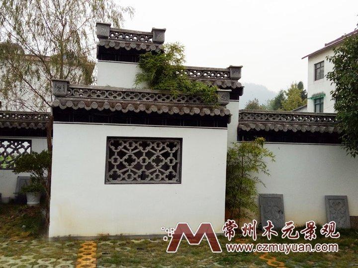 围墙系列 产品概述:中式仿古马头墙,围墙,景墙组合,使用镂空景窗,墙饰图片